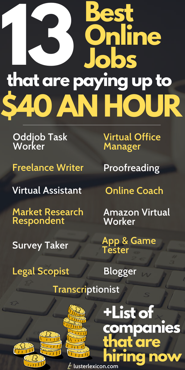 13 Genuine Online Jobs That Pay 20 An Hour Or More