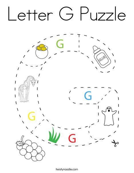 Letter G Puzzle Coloring Page - Twisty Noodle in 2020 ...