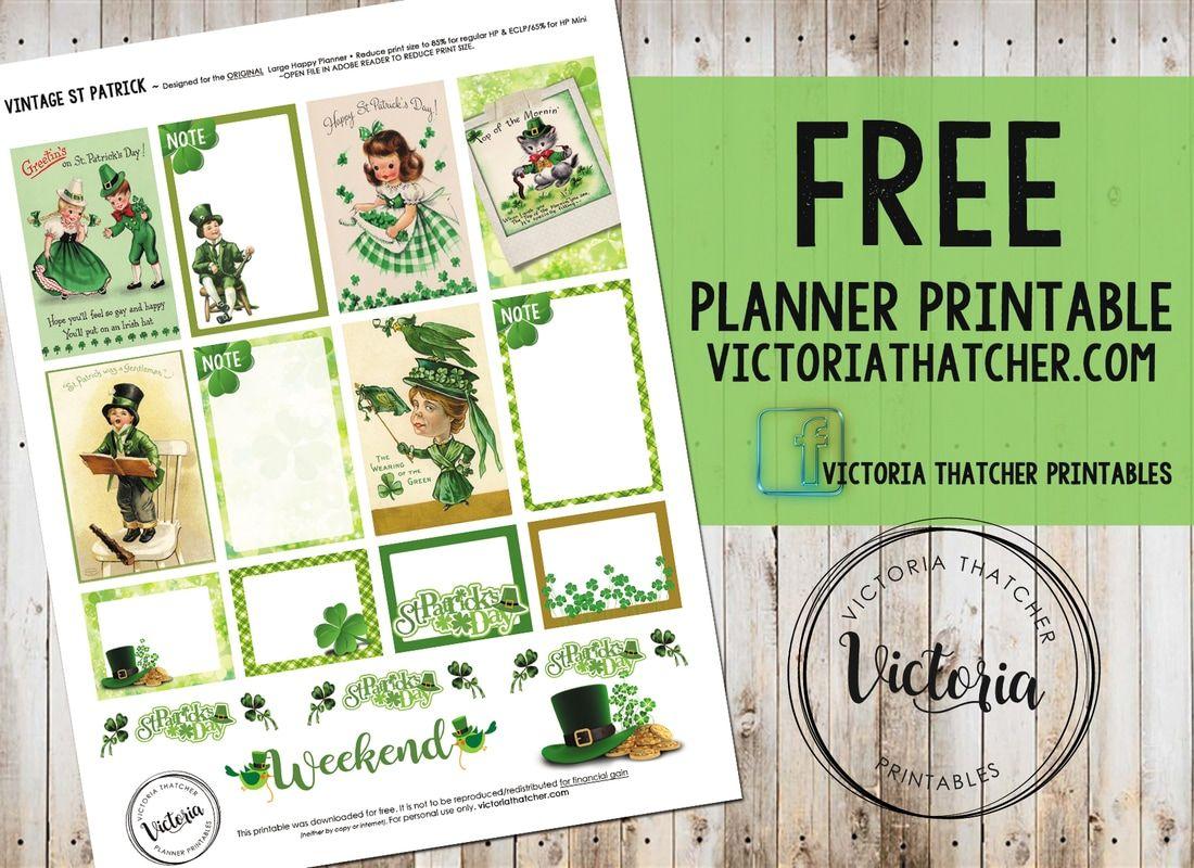 Vintage St Patrick Planner Printable