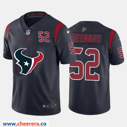 Houston Texans 52# Maillot de Football am/éricain Jonathan Greenard # 52 Rugby Jersey T-Shirt /à Manches Courtes V-Neck Broderie Training Sweatshirt