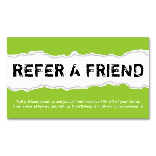 Refer a friend page rip color customizable business card for Refer a friend business cards