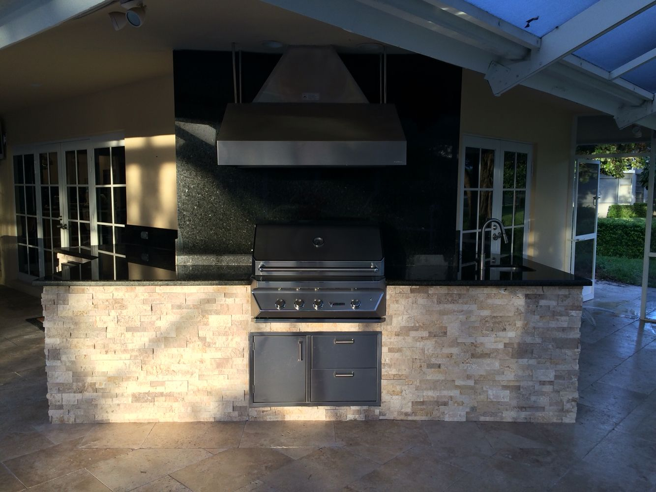 Custom Outdoor Kitchen With Vent A Hood And Twin Eagles Grill Finished Just In Time For Thanksgiving Outdoor Kitchen Grill Outdoor Kitchen Kitchen Grill