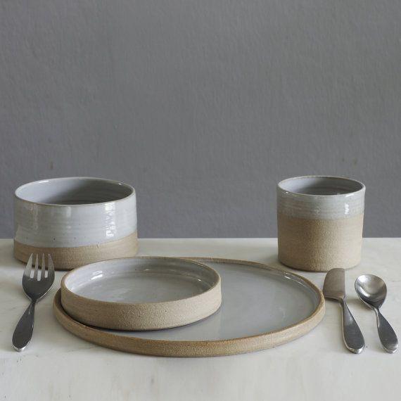 kitchen utensil holder sand stoneware w/ grey by vitrifiedstudio pottery dinnerware set & custom dish set. dinnerware pottery. 4 piece 4 by vitrifiedstudio ...