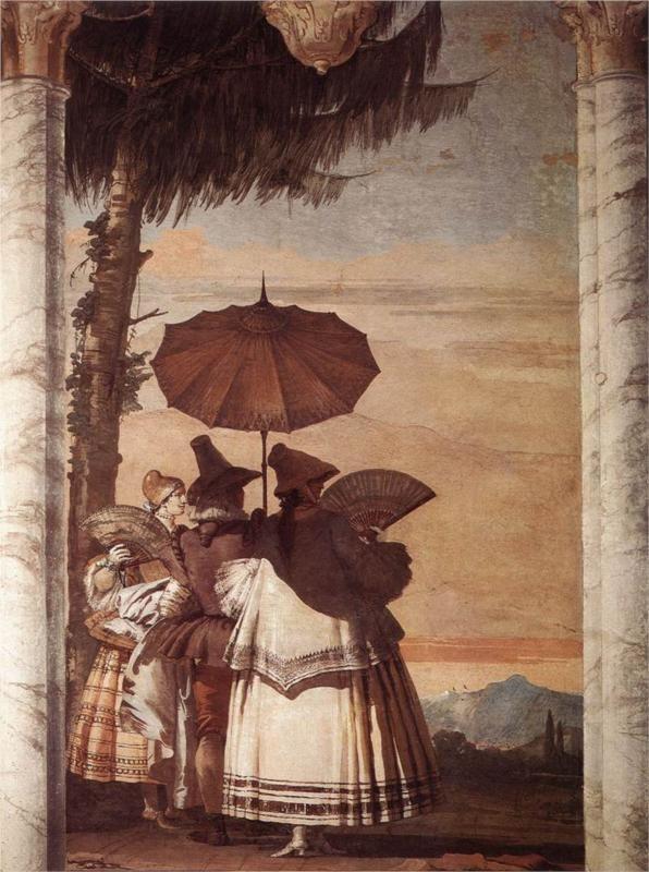 Page: Summer Stroll  Artist: Giovanni Domenico Tiepolo  Completion Date: 1757  Style: Rococo  Genre: genre painting  Technique: fresco  Gallery: Villa Valmarana ai Nani, Vicenza, Italy