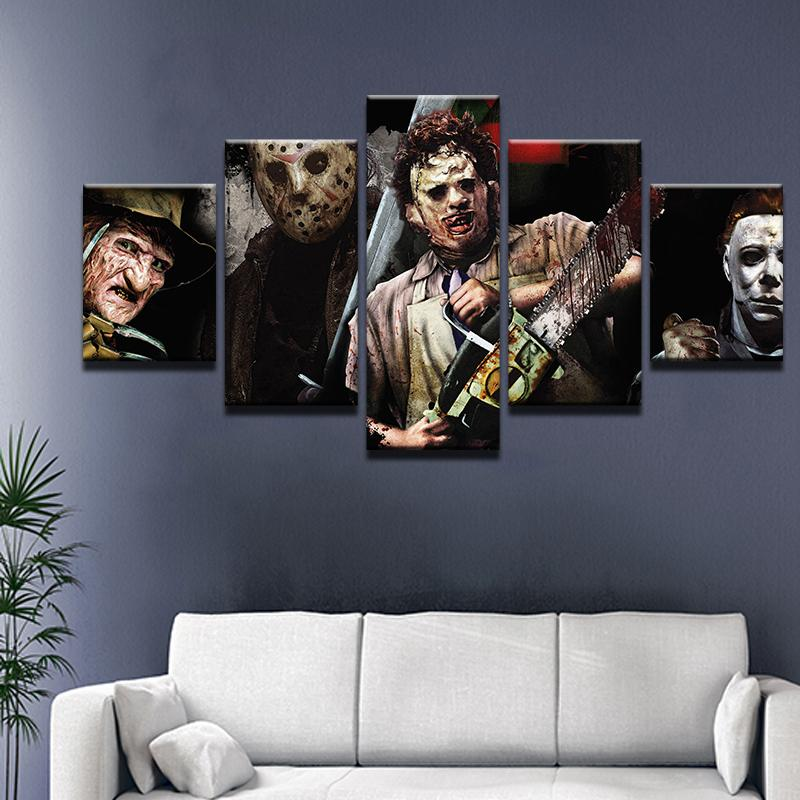 Horror Movie Characters Freddie Jason Michael Myers 5 Panel Canvas Print Wall Art Customized Canvas Art Horror Decor Horror Room