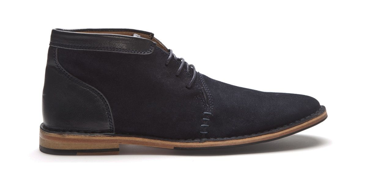 The Jackson Stitch-Down Boot in Navy Suede