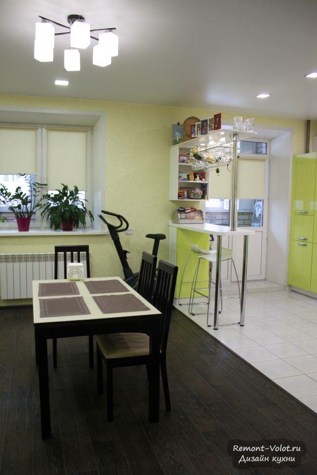"""Дизайн большой кухни 27 кв. м цвета """"лайм"""" с барной ..."""