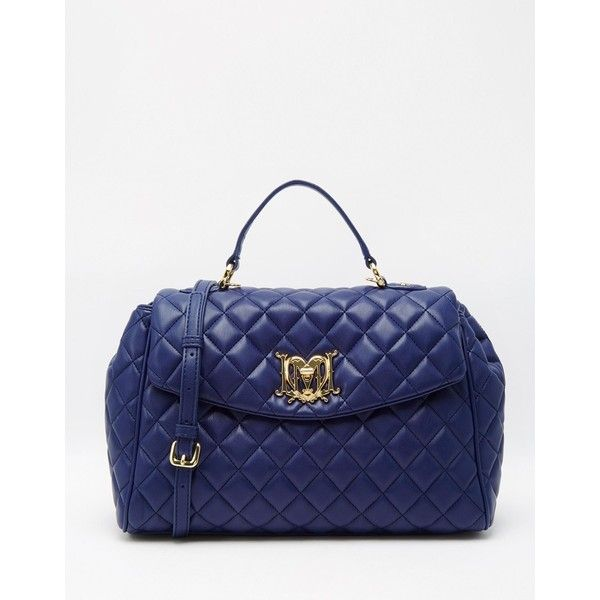 Love Moschino Quilted Bag (€195) ❤ liked on Polyvore featuring ... : navy quilted handbag - Adamdwight.com