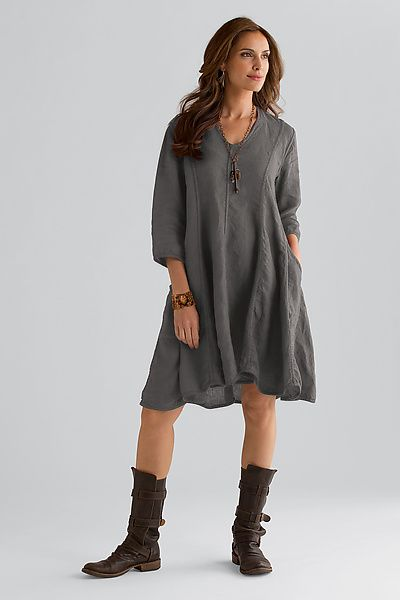 Trapeze Linen Dress: Cynthia Ashby: Linen Dress - Artful Home...love this, but with trousers...