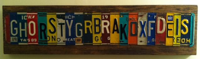 License plate name art
