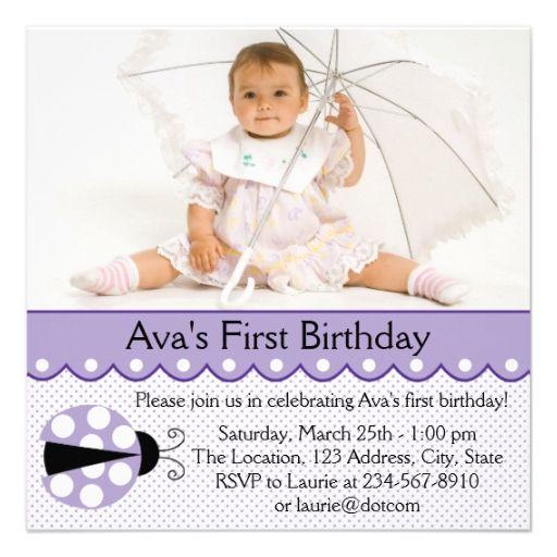Purple Ladybug Girl Photo 1st Birthday Party Announcements