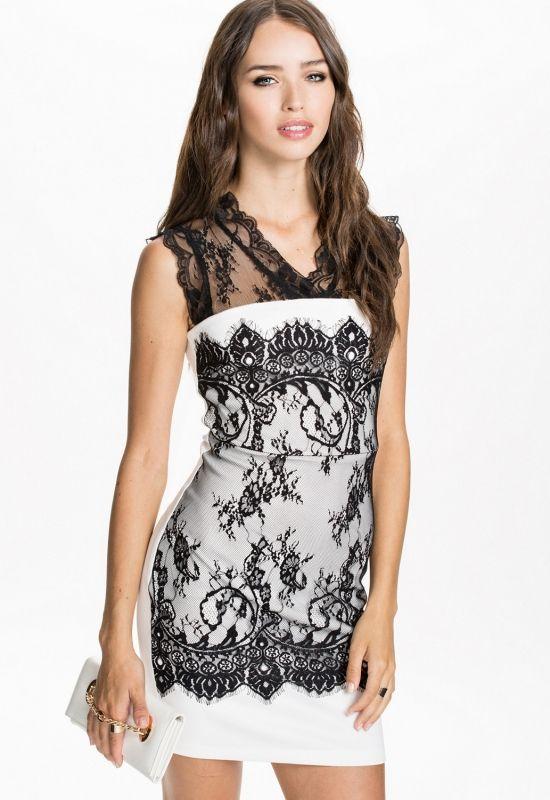 Monochrome Lace Decorative Bodycon Vintage Dress