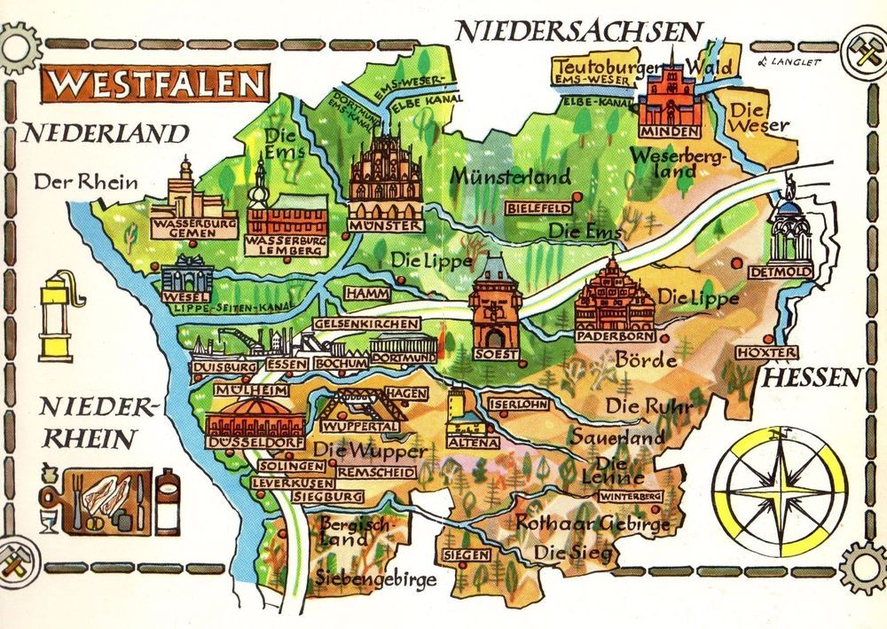 Map Of Germany Gelsenkirchen.Details About Vintage Germany Picture Map Westphalia Germany