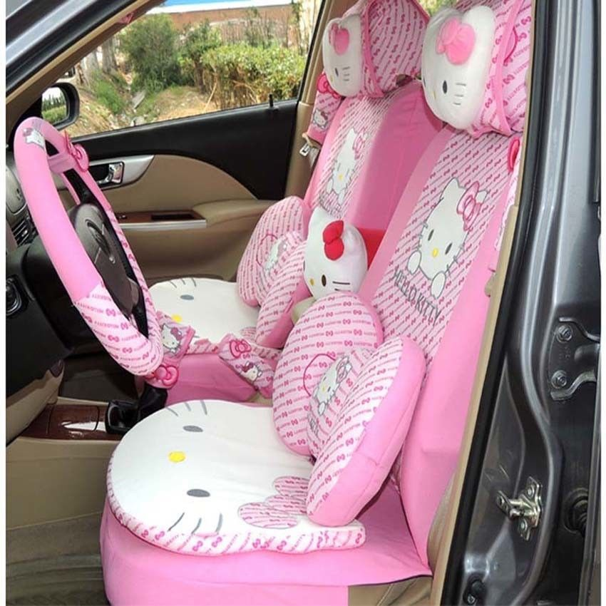 29pcs Hello Kitty Head Comfortable Pink Car Seat Covers