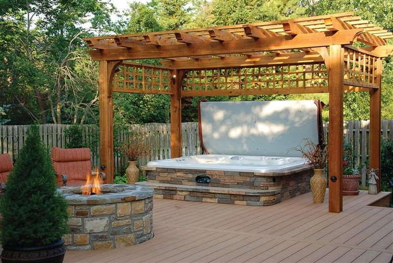 Exterior Design Deck Designs With Hot Tub Also Stone Fire Pit And Pergola With Outdoor Planters Also Trees And Hot Tub Patio Hot Tub Backyard Hot Tub Outdoor