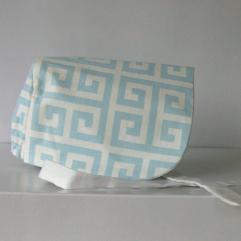 Blue Geometric Print Bonnet.