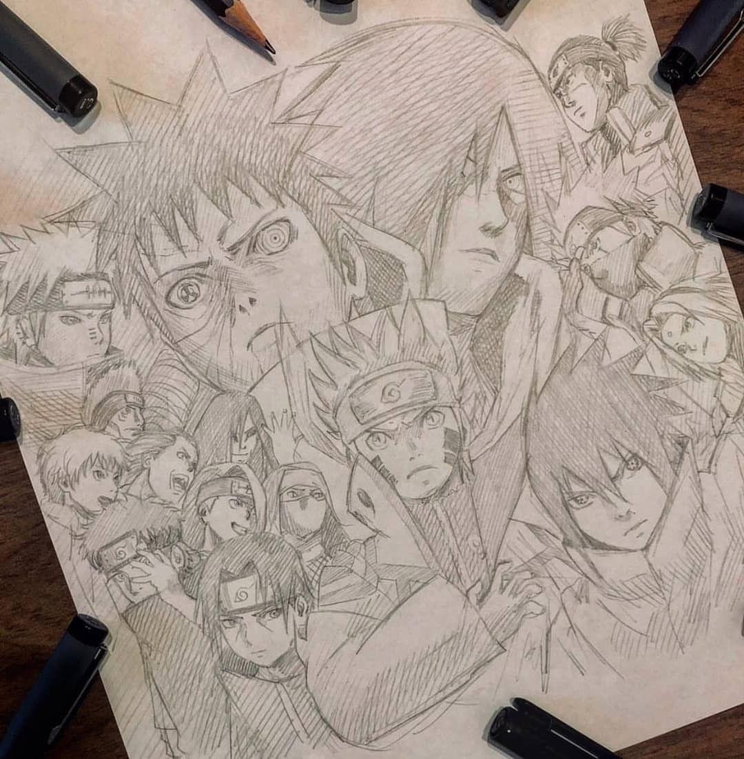 Awesome Drawing Of Naruto Characters By David Freeman