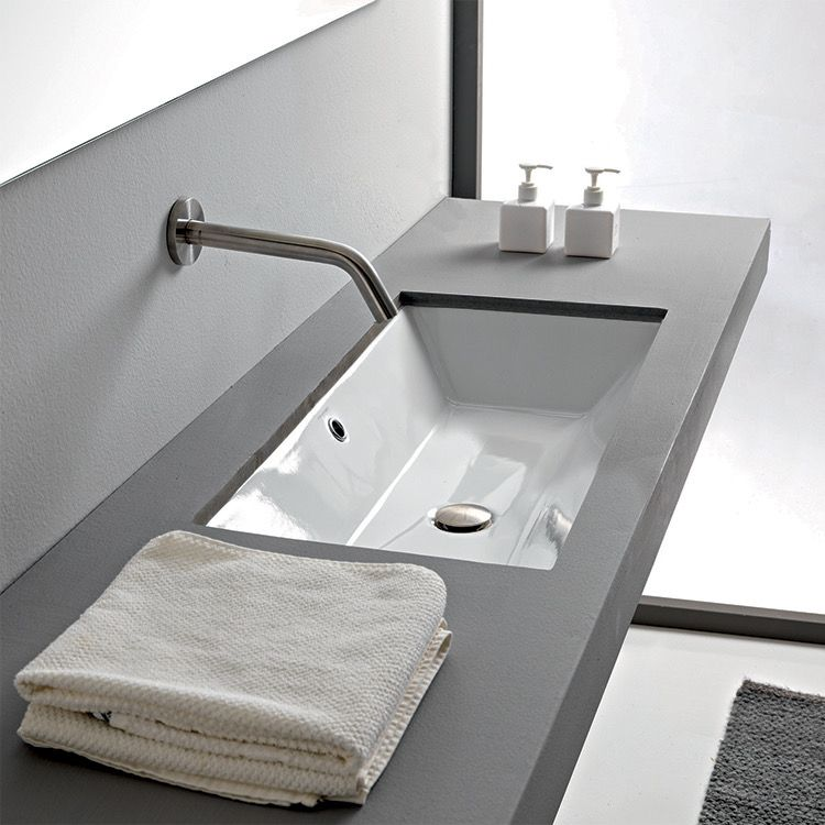 Rectangular White Ceramic Undermount Sink in 2020 | Modern ...