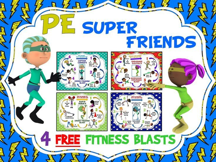 PE Super Friends Fitness Blasts- 4 FREE Mini Workouts | Teaching ...