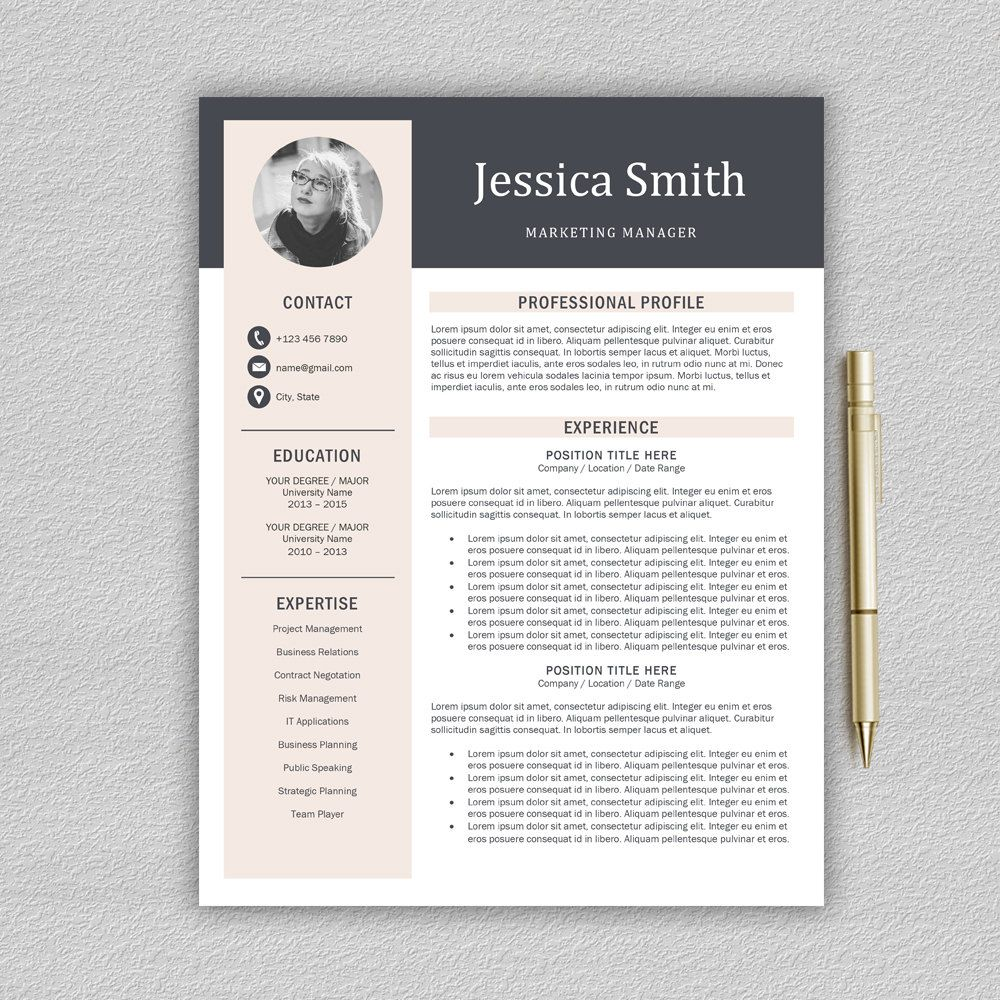 modern resume template    professional resume template for word   cover letter