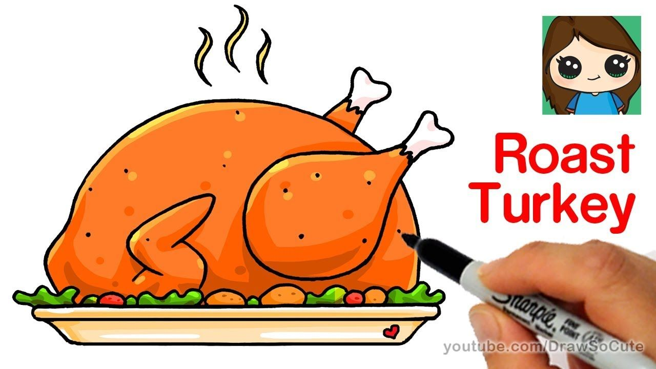 How To Draw A Roast Turkey Dinner Easy Realistic With Images