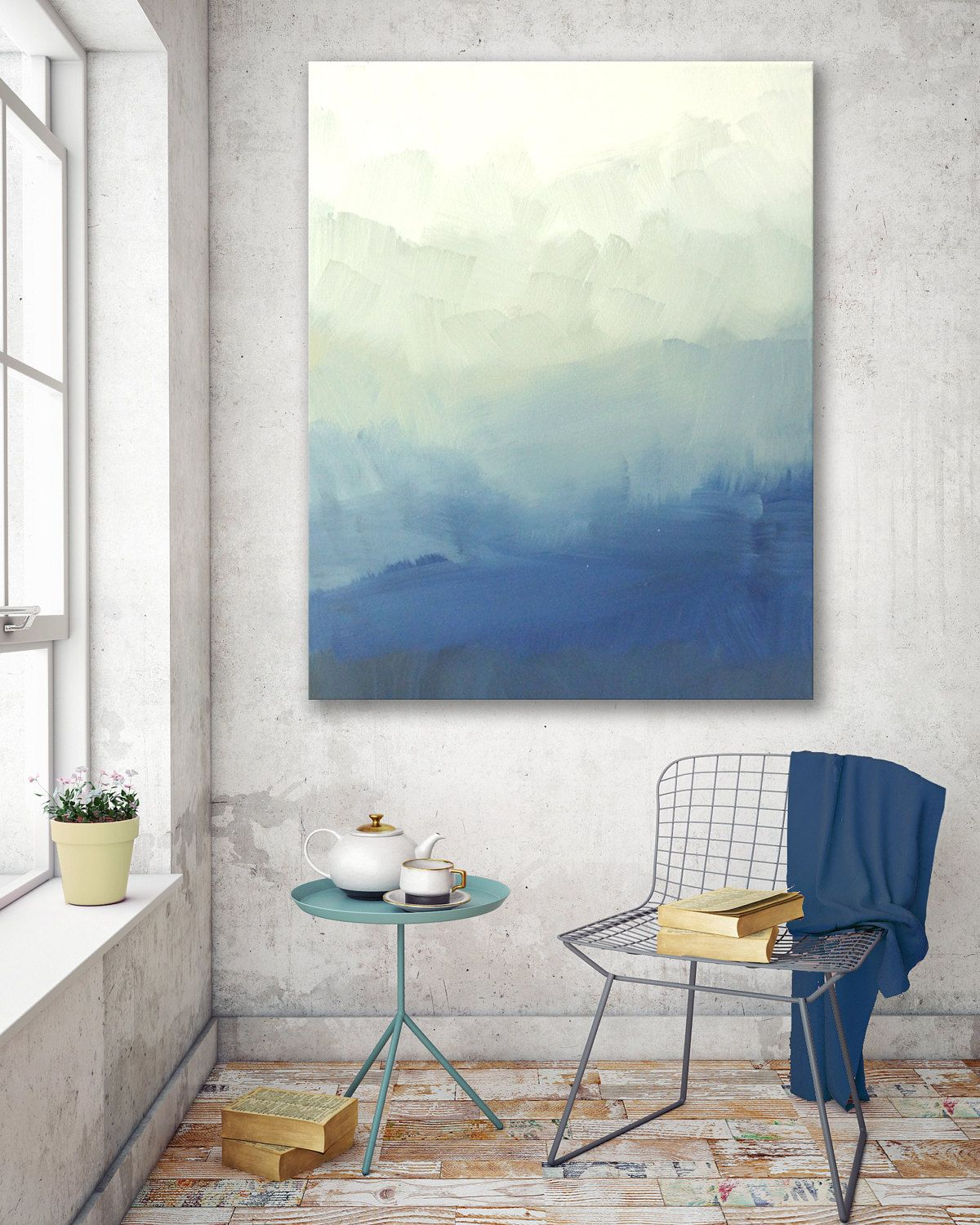 Blue ombre modern abstract painting bedroom wall decor ...