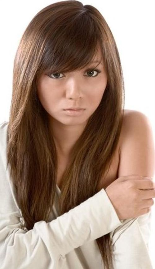 Layered Hairstyles With Side Swept Bangs For Round Faces Haircuts