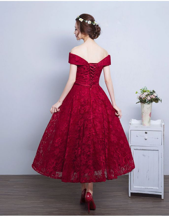 Red Vintage-Inspired Lace Wedding Dress