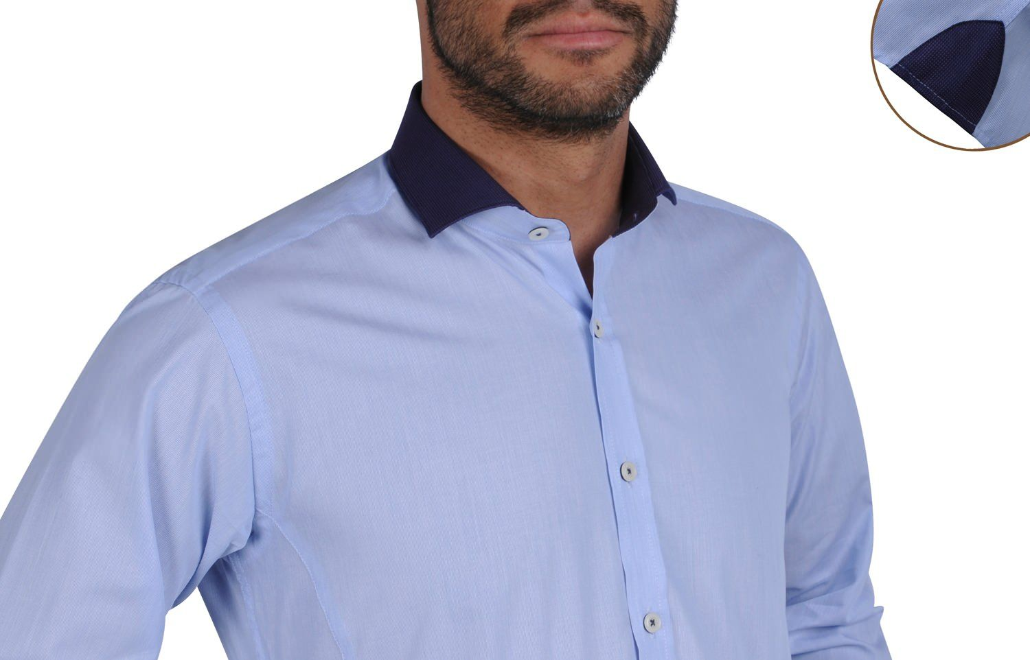 Sky Blue Shirt Navy Soho Collar, Waisted-fit - Dress Shirts for Men - French-Shirts.com