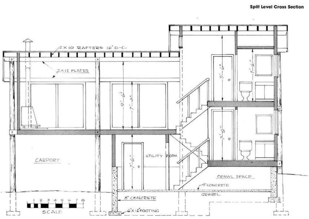 Split Level Stairs 5 Cross Section Split Level House