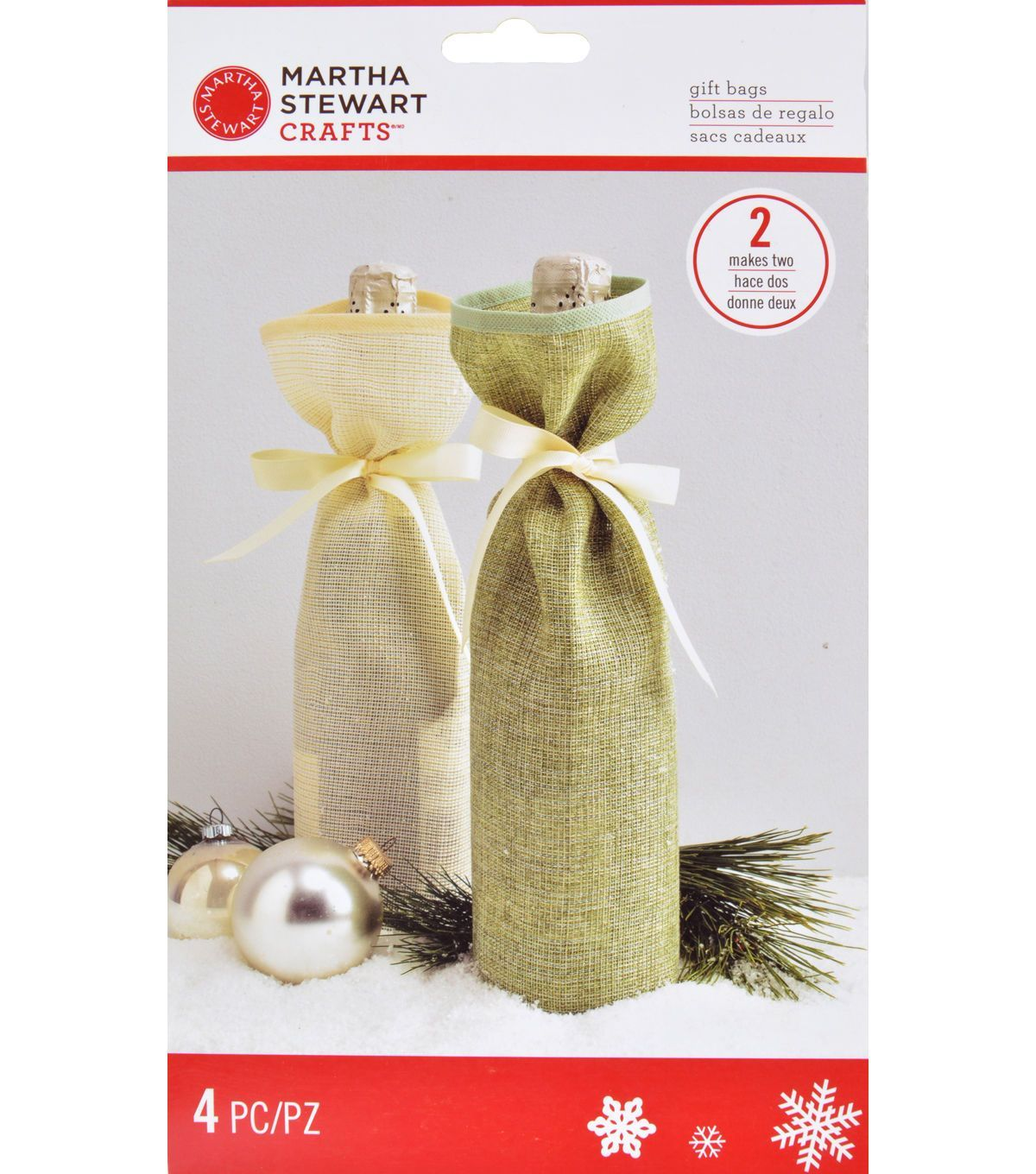 Martha Stewart Crafts Fabric Wine Bags-Winter Frost   Holiday ...