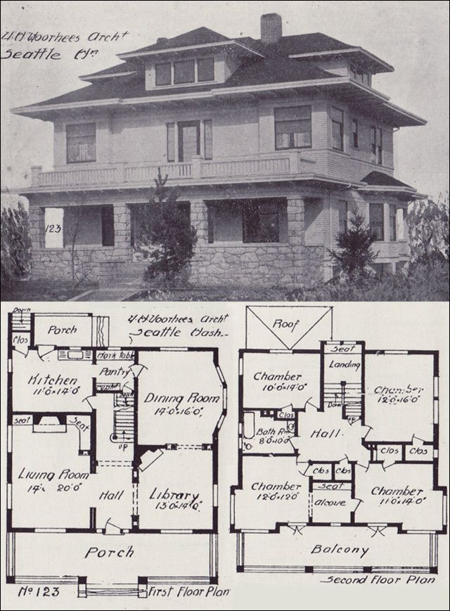 1908 western home builder prairie box house plan for Prairie home floor plans