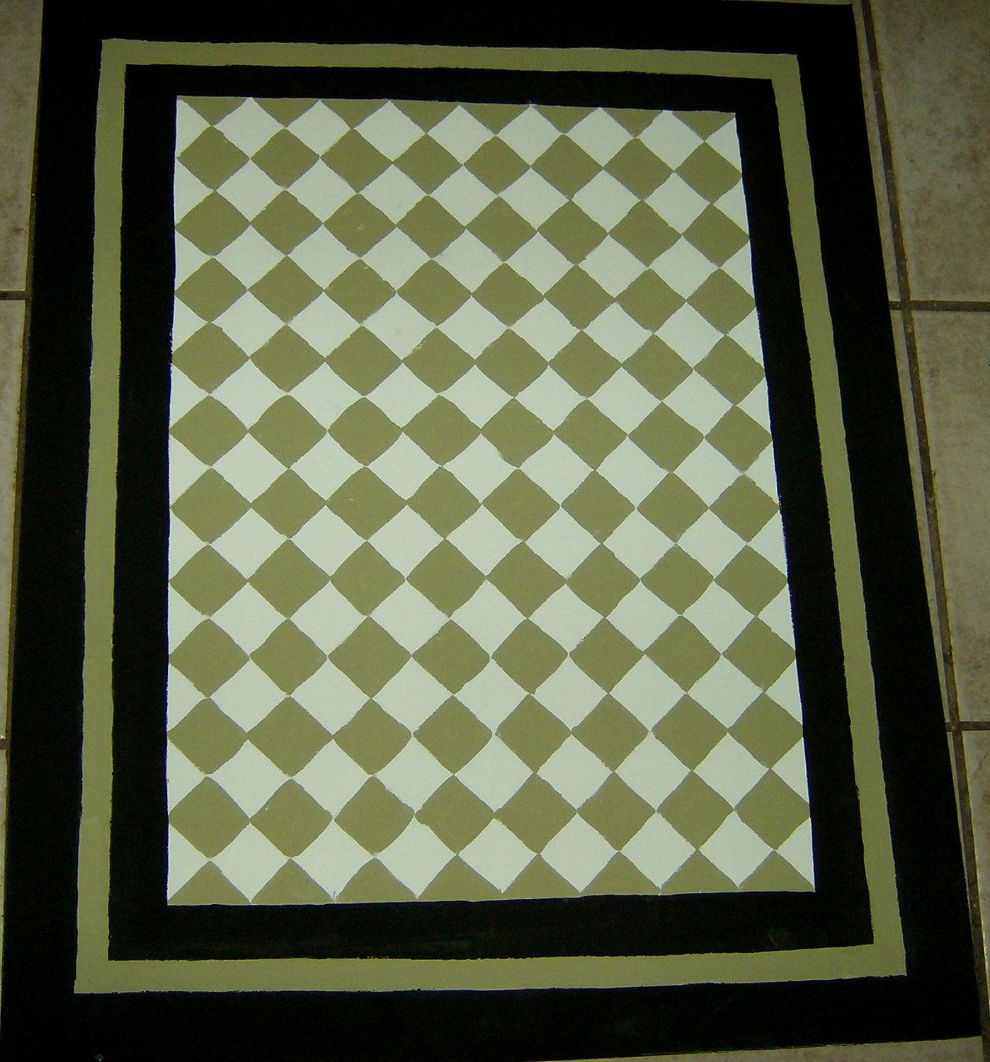 Sage Green and Black FLOORCLOTH / French Country / Painted ...