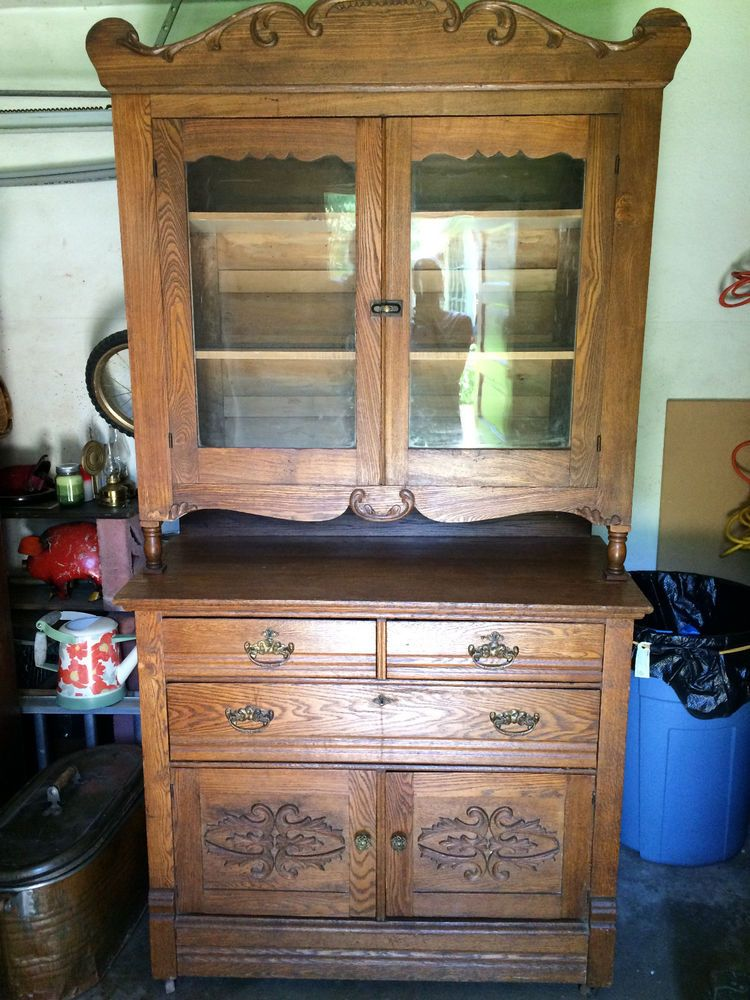 Antique Oak Step Back Kitchen Cupboard With Applied Carvings