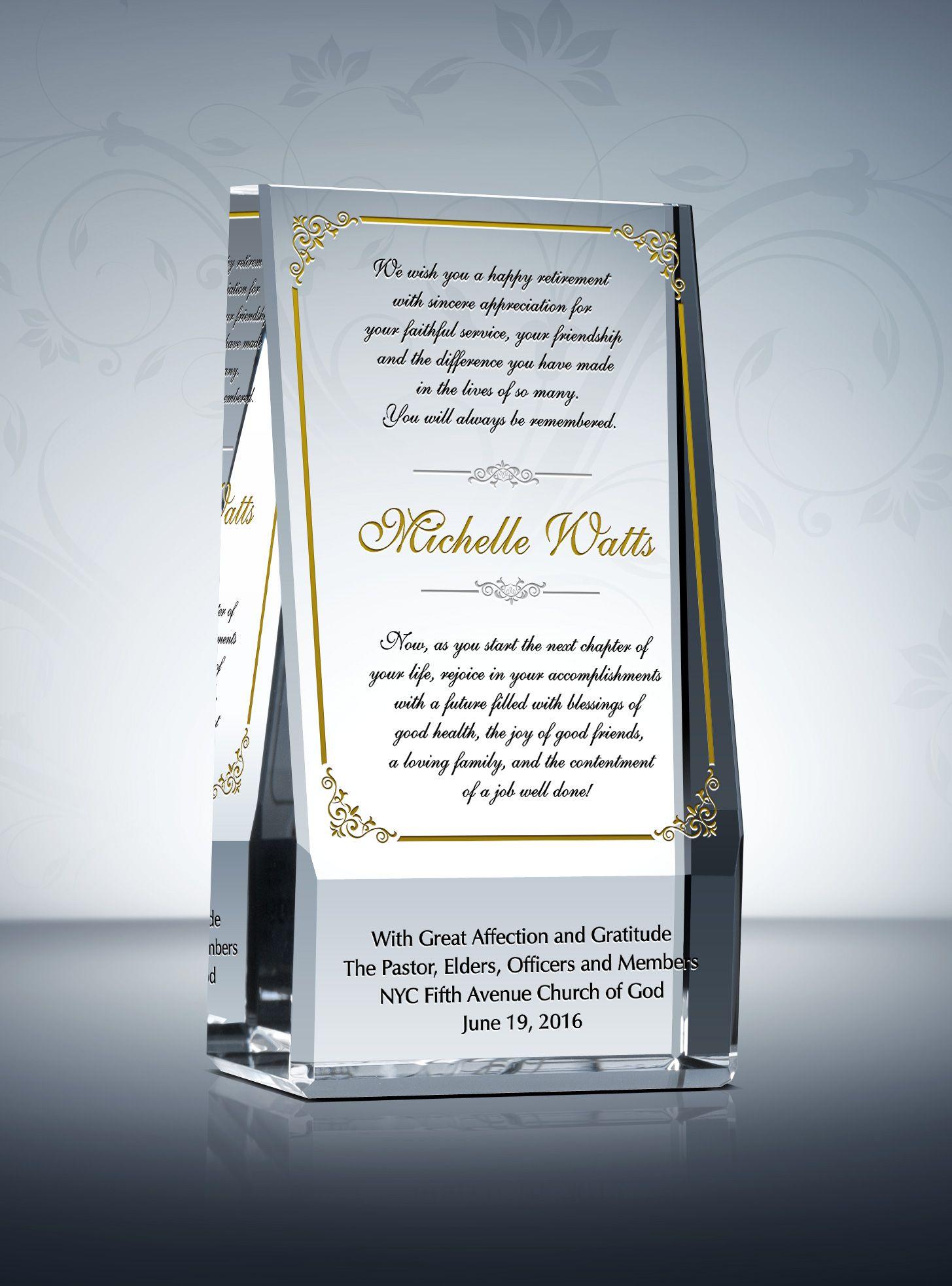 Wedge Pastoral Retirement Plaque | Pastor Gift Plaques ...