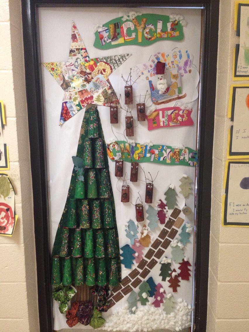 Classroom Christmas Door Decoration Made With Recycled Materials School Door Decorations Christmas Classroom Christmas Door