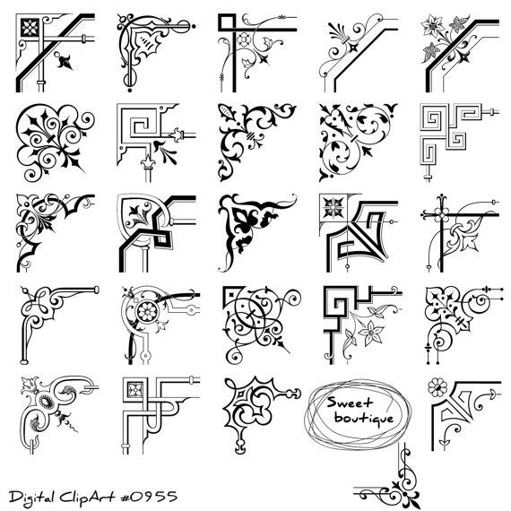 Corner Digital Clipart, Corner calligraphy, border corner