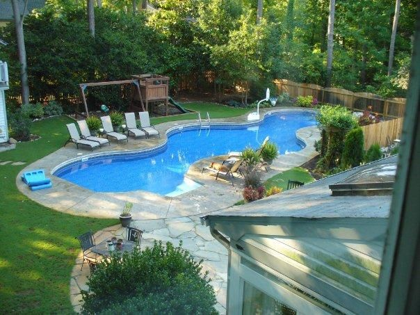 Perfect I Like This Pool Because You Still Have Somewhat Of A Backyard And A Swing  Set