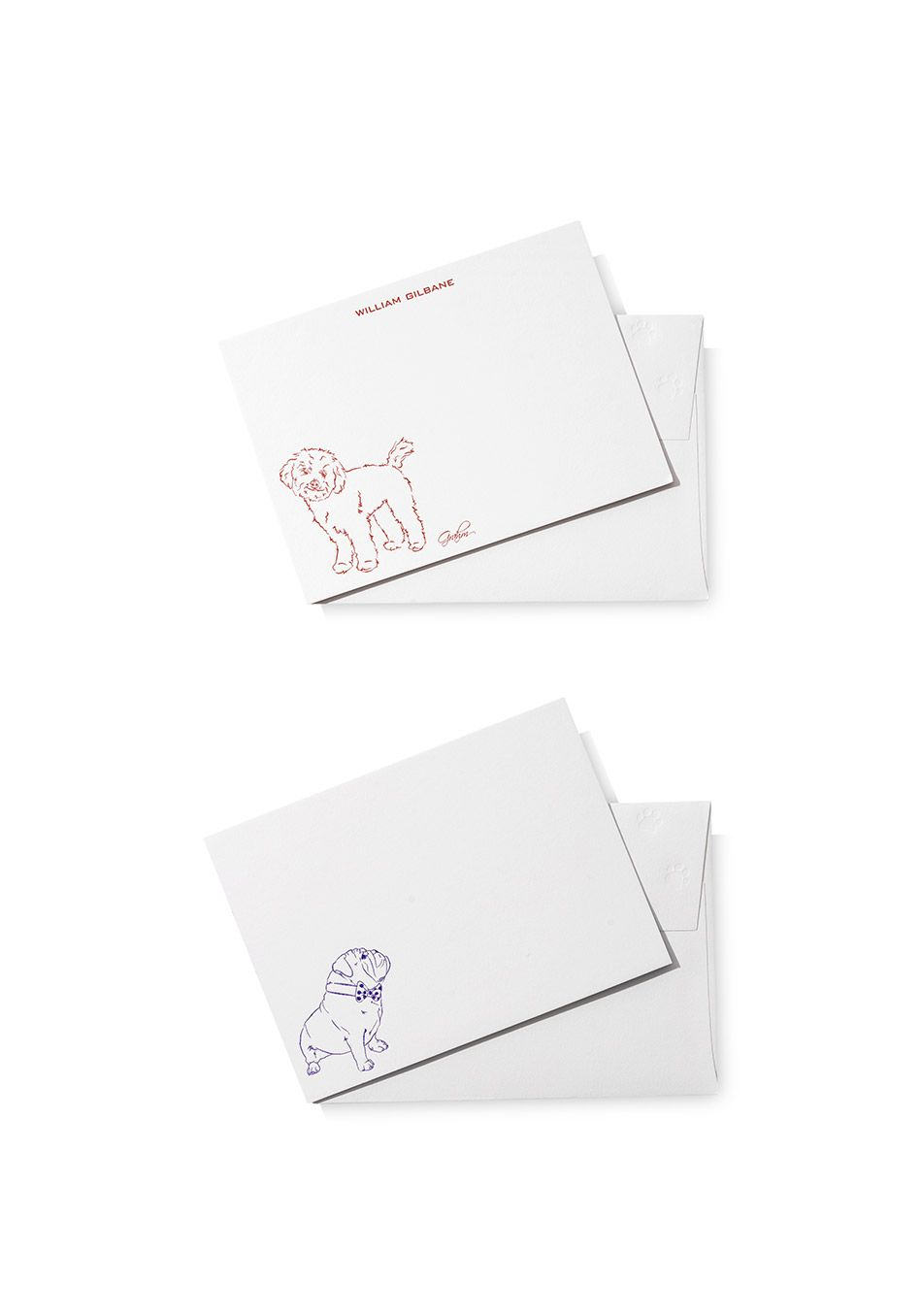 Artist Rory Mackay creates an original illustration based on a photo of your pet that's letterpressed into each note.