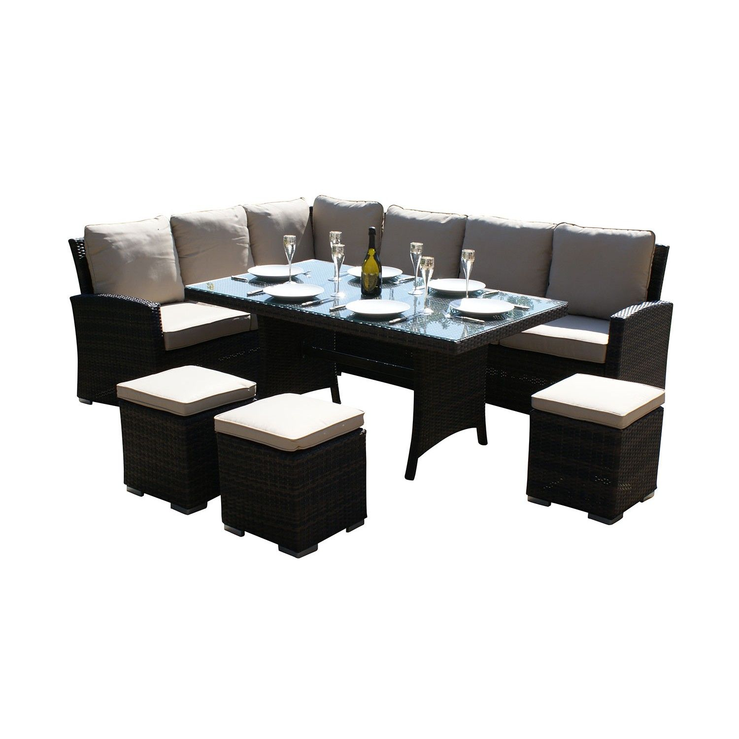 Maze Rattan Kingston Black Corner Sofa Garden Set The