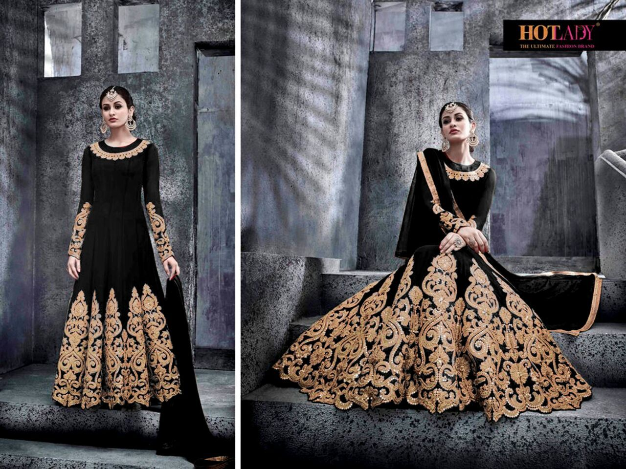 Ref S-020) Fashionable long georgette dress  Embroidered with stone