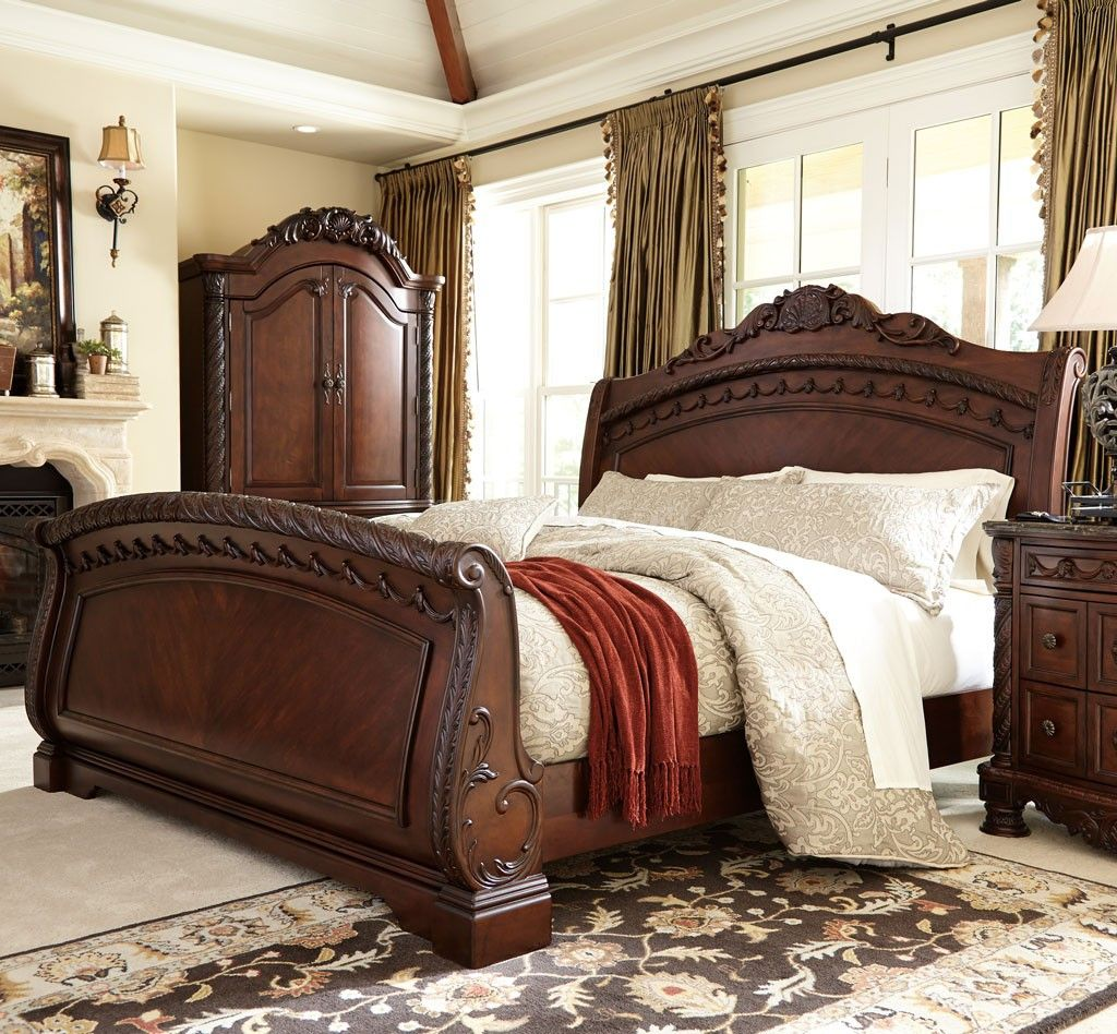 queen sale bed furniture ashley of cupboard wood image frames on bedroom sets