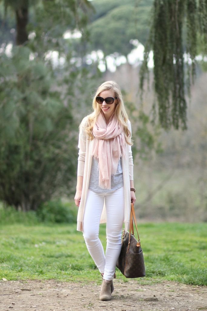 Villa Ada: Long cardigan, pale pink scarf, neutral palette for ...