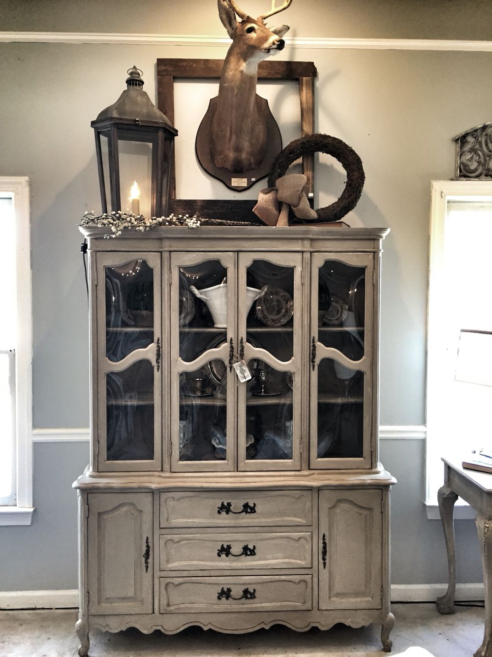 distressed black hutch french display arched cabinet cabinets country for chalk china sale painted