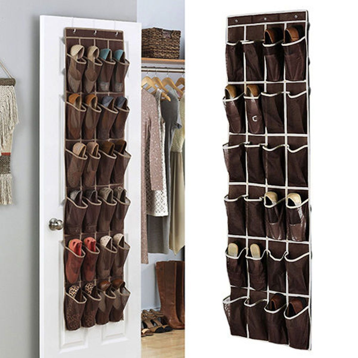 pockets over door hanging shoes organizer mesh storage rack