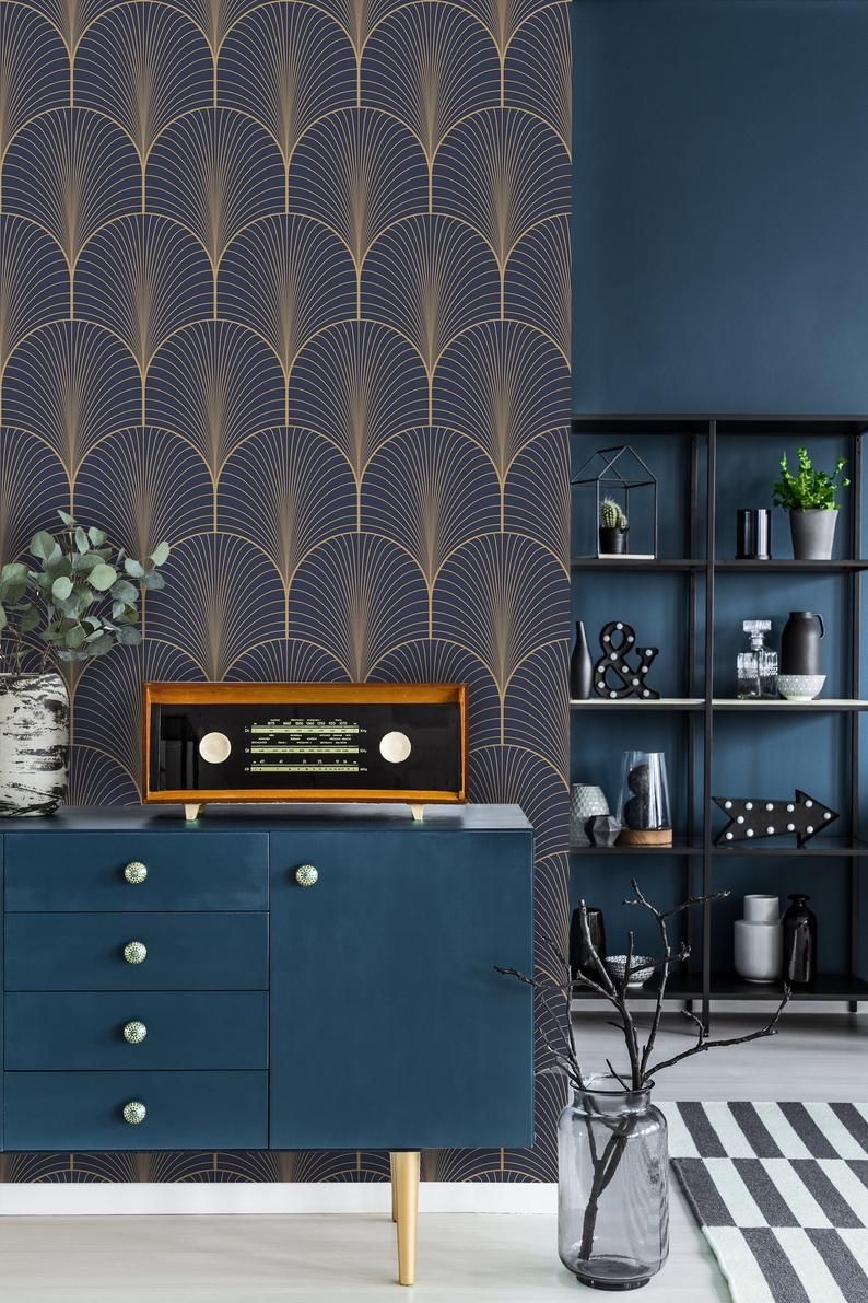 Vintage Art Deco Wallpaper Self Adhesive Wallpaper Blue And Brown Geometric Pattern Peel And Stic In 2020 Art Deco Wallpaper Art Deco Living Room Art Deco Kitchen