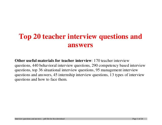 Top 20 teacher interview questions and answers School stuff