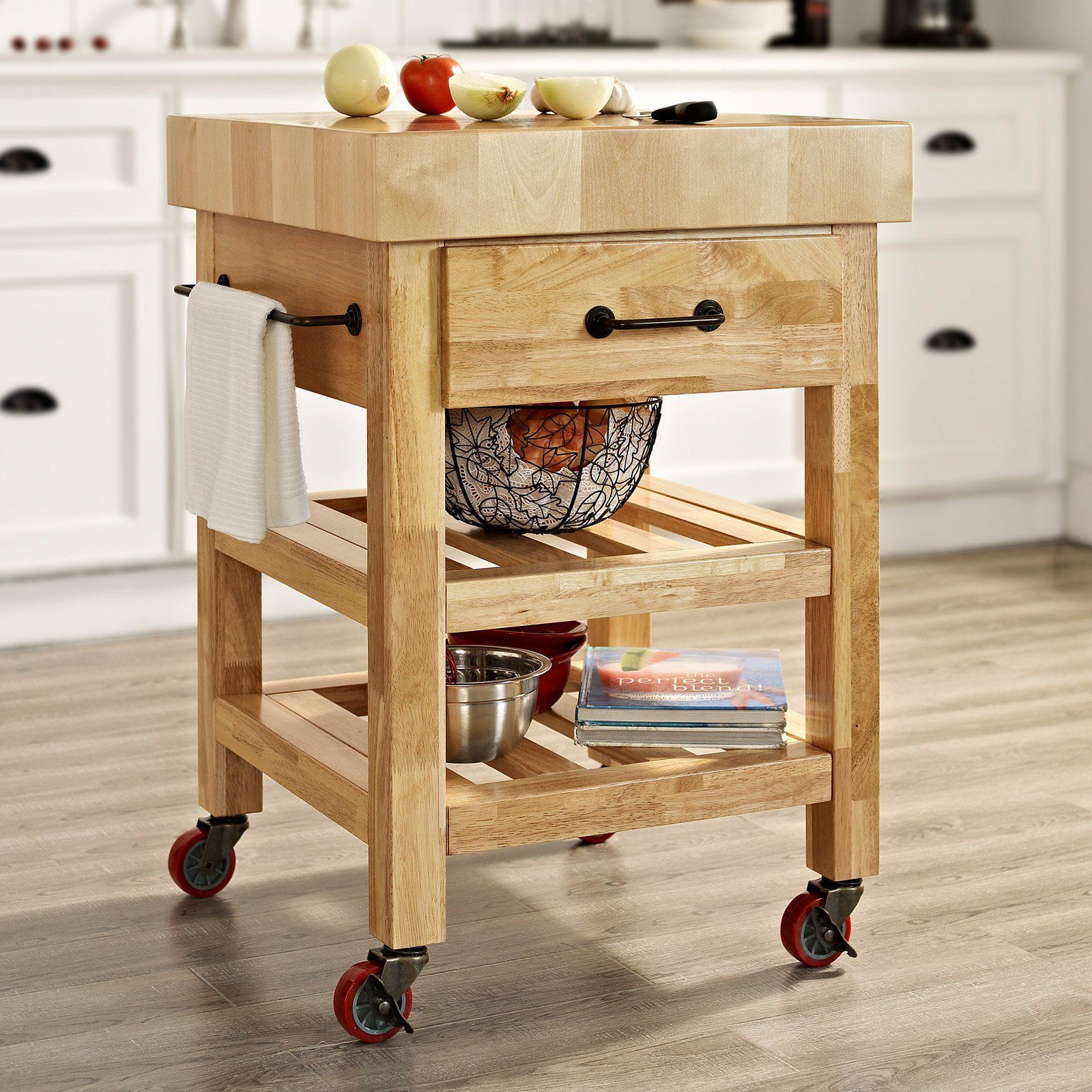 Crosley Marston Butcher Block Natural Kitchen Cart | from hayneedle ...