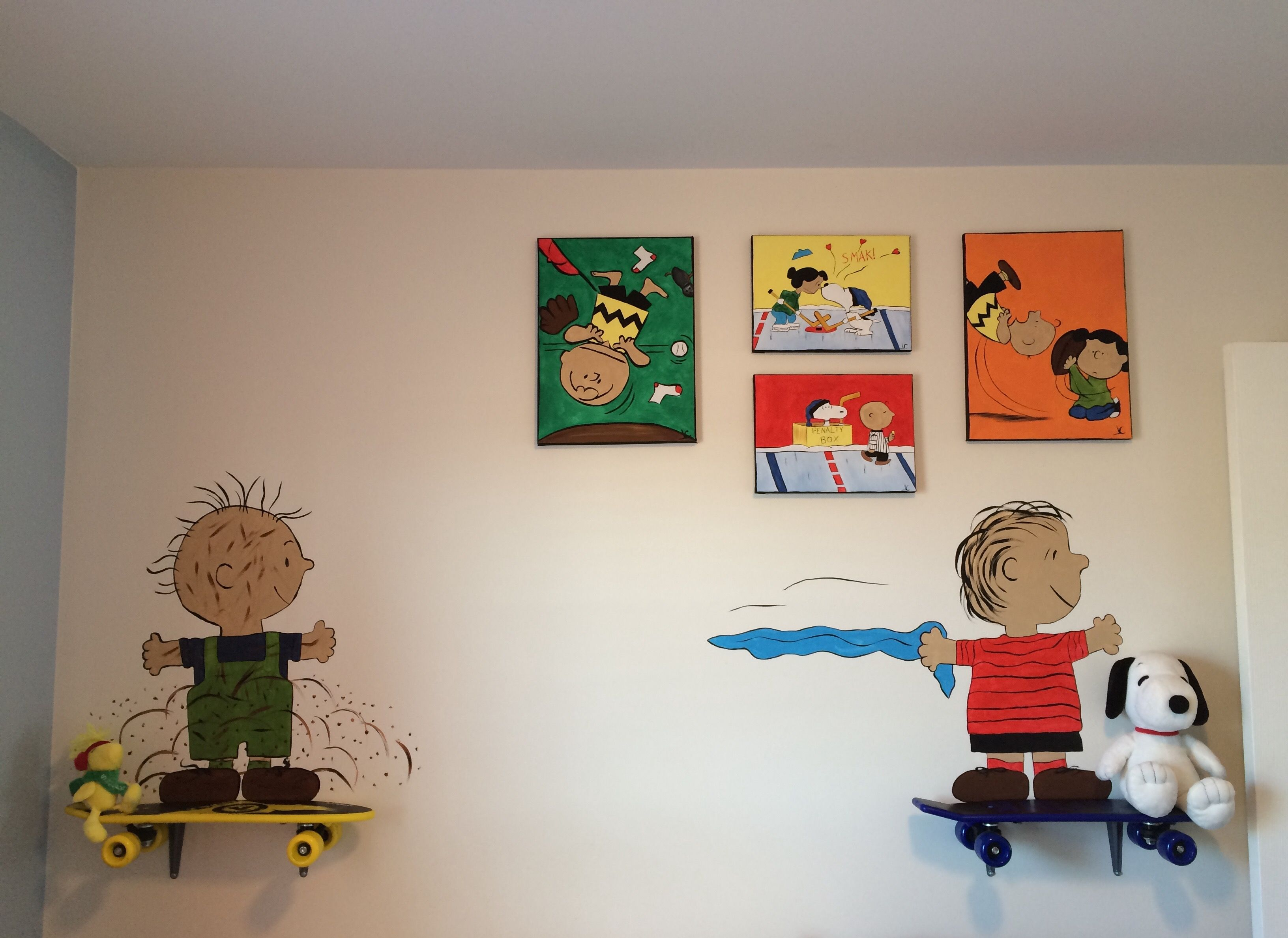 Removable skateboard shelves with Pig Pen & Linus for my son's ...