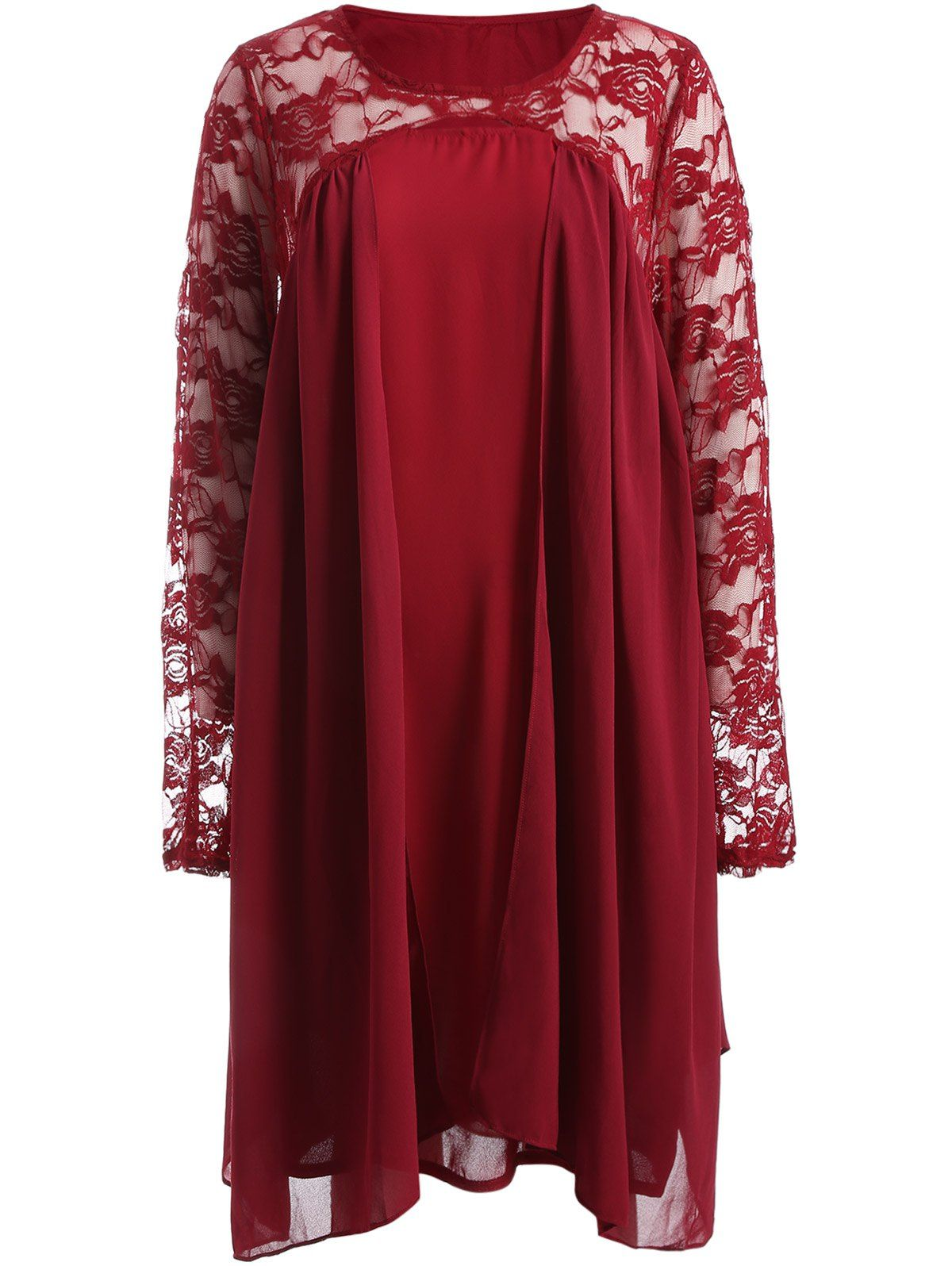 for long sleeve lace insert plus size dress in red
